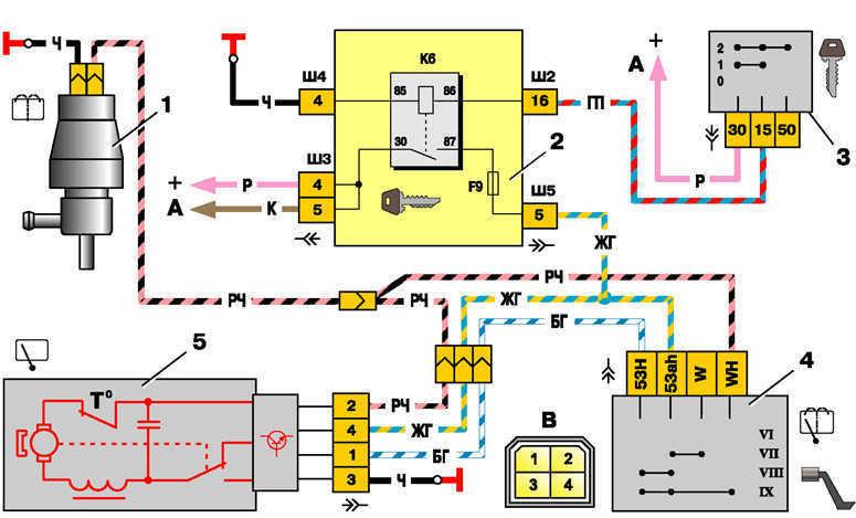 1 – электродвигатель омывателя